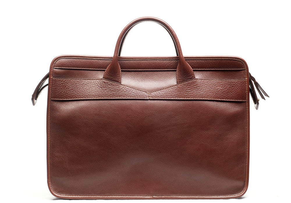 Leather Slim Zipper Briefcase Chestnut|Front Leather View