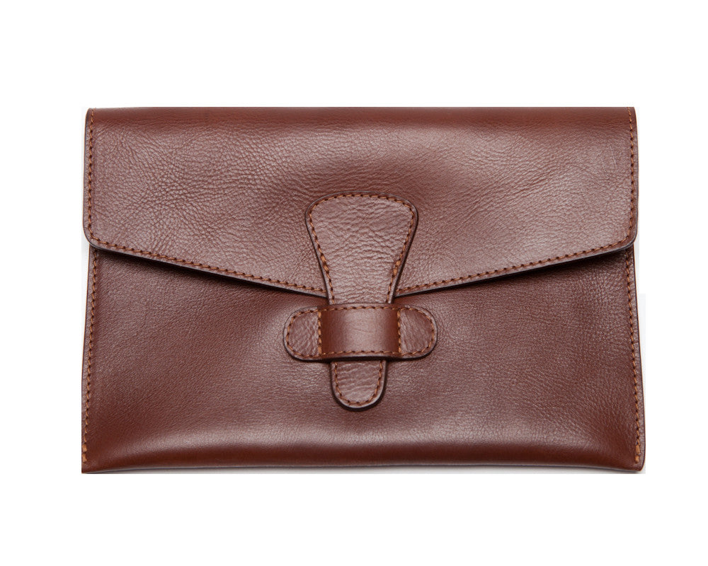 Front Leather View of Leather iPad Mini Case Chestnut