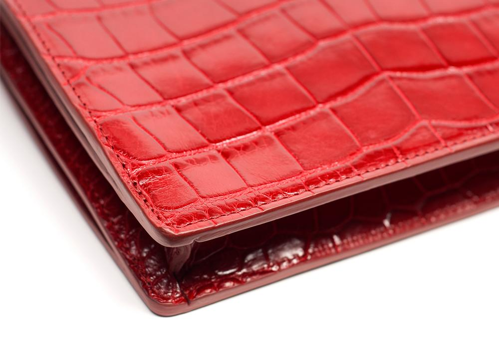 Corner Leather of The American Alligator Tripp Red Alligator