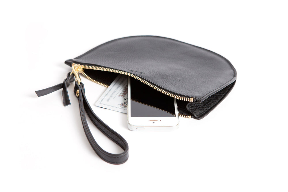 Open Full Leather  of Round Pouch Black