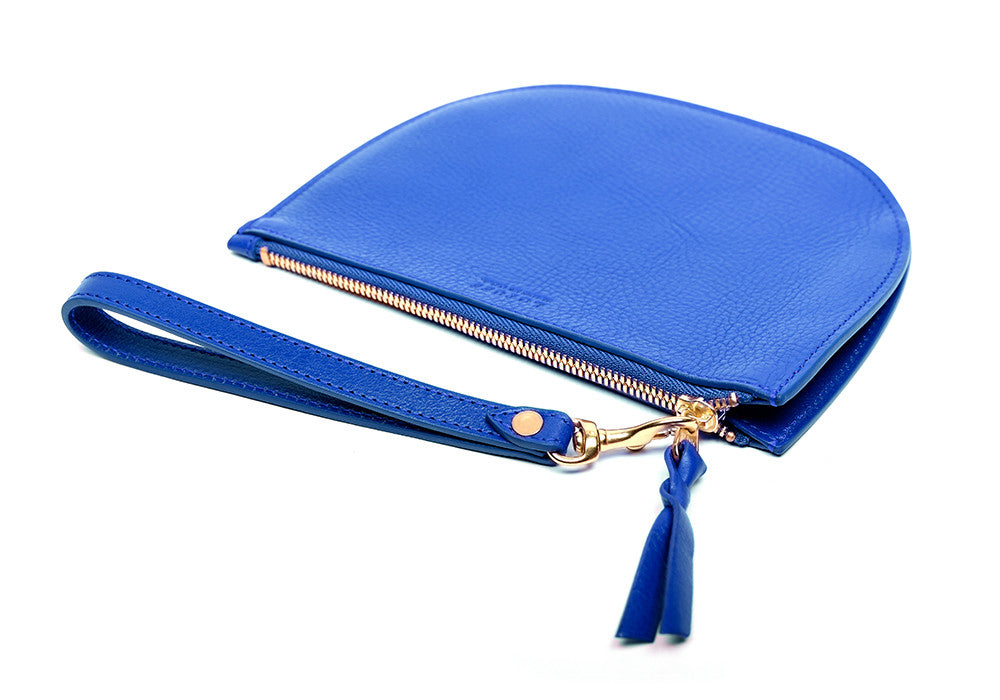 Front Leather View of Round Pouch Electric Blue