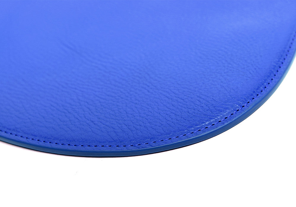Close Side View of Round Pouch Electric Blue