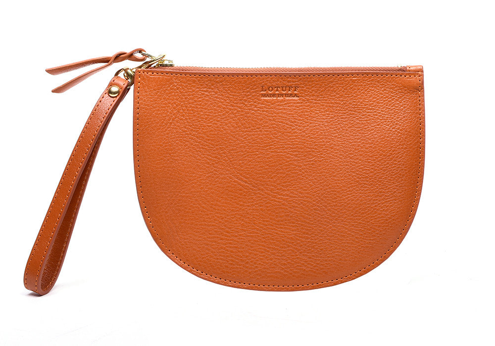 Front Leather View of Round Pouch Orange