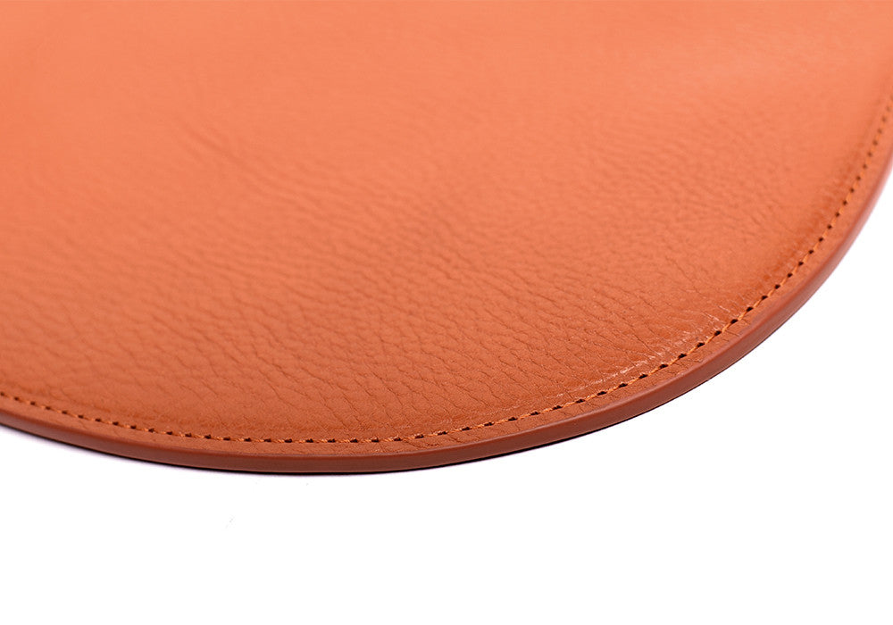 Close Up Leather of Round Pouch Orange