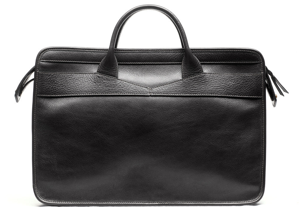 Front Leather View of Leather Slim Zipper Briefcase Black