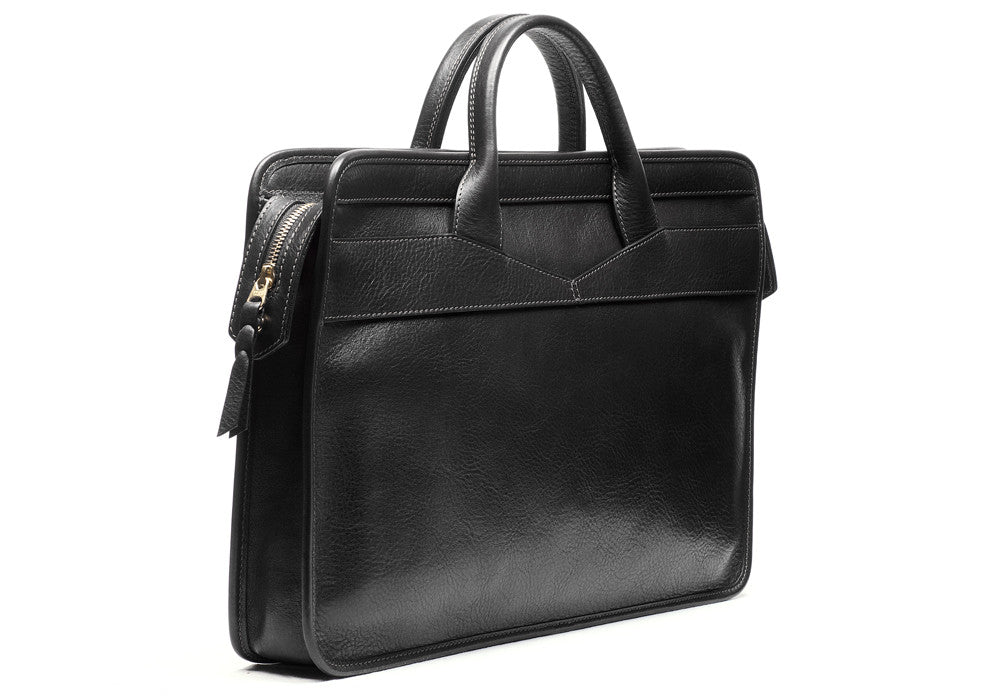Front View of Leather Slim Zipper Briefcase Black