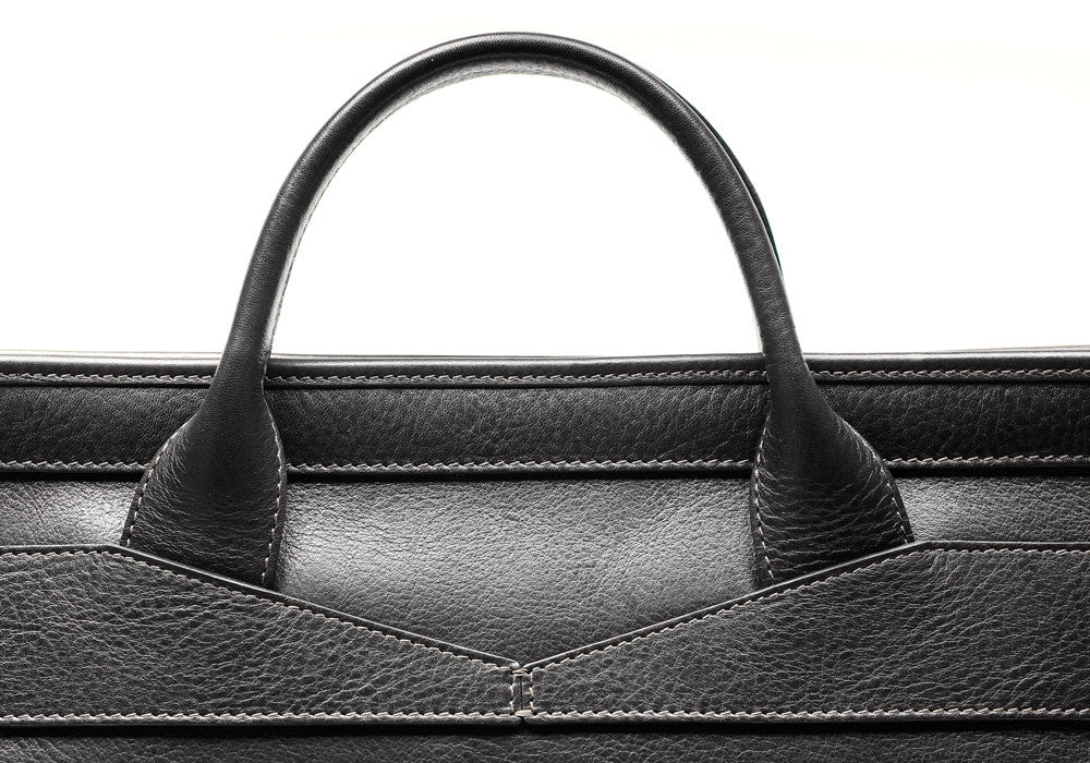 Leather Handle of Leather Slim Zipper Briefcase Black