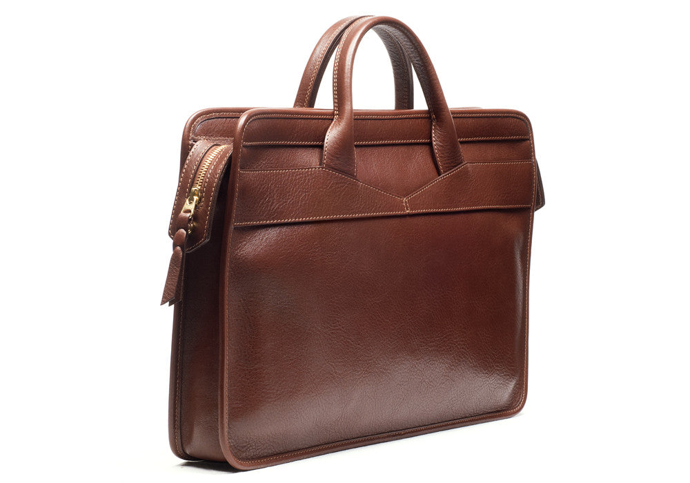 Back Leather View of Leather Slim Zipper Briefcase Chestnut