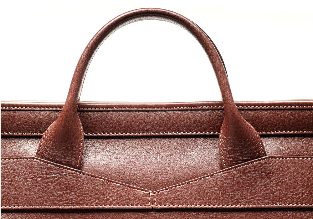 Top Leather Handle of Leather Slim Zipper Briefcase Chestnut