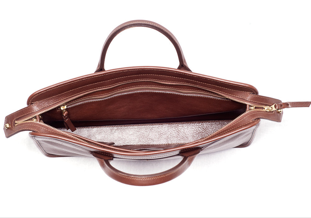 Inner Leather View of Leather Slim Zipper Briefcase Chestnut