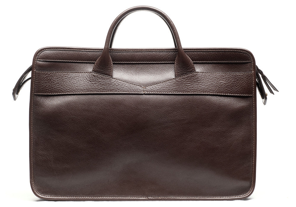 Front Leather View of Leather Slim Zipper Briefcase Chocolate