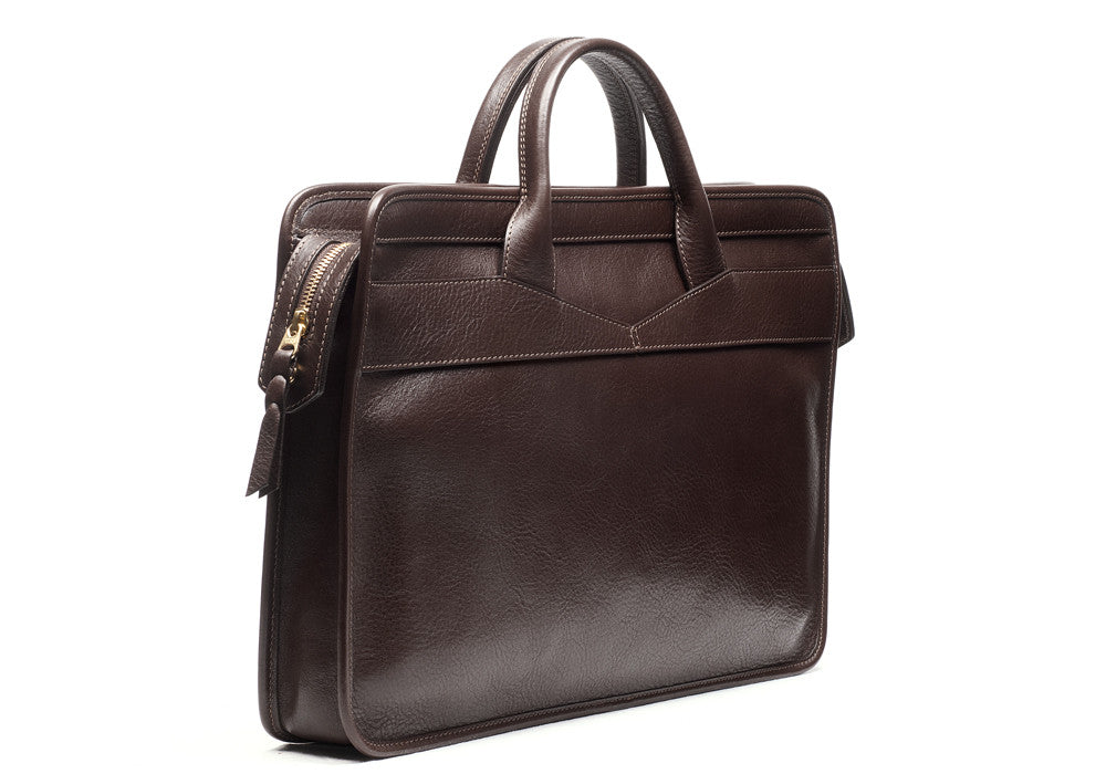 Front View of Leather Slim Zipper Briefcase Chocolate