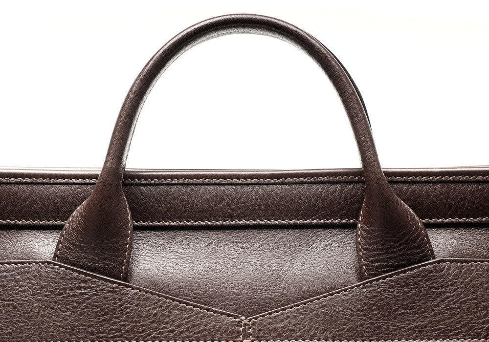 Leather Handle View of Leather Slim Zipper Briefcase Chocolate