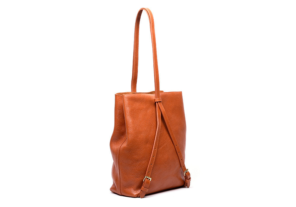 Top Leather Strap of The Sling Backpack Orange