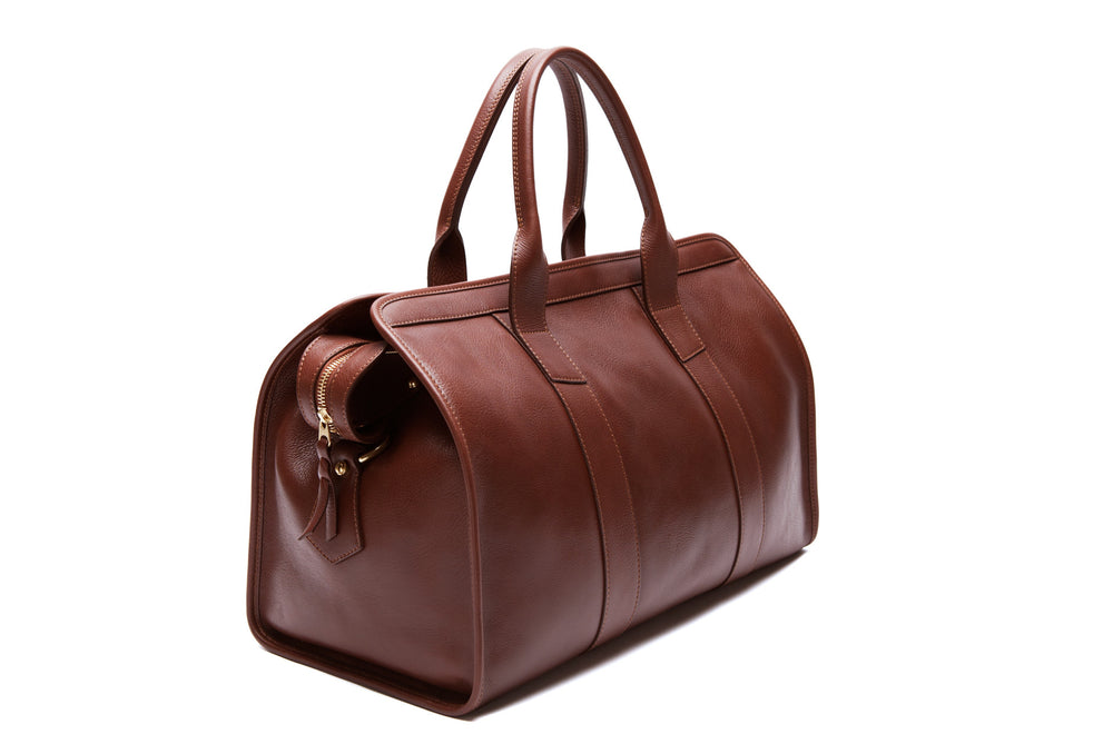 Front View of Small Leather Duffle Chestnut