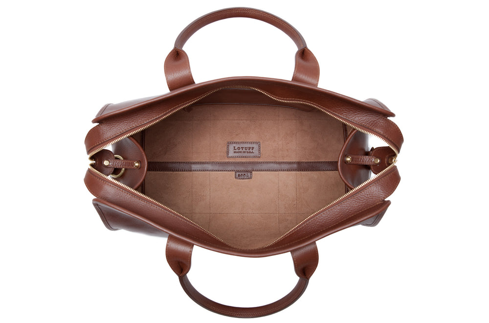 Inner Leather View of Small Leather Duffle Chestnut