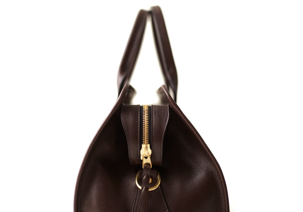 Side View of Small Leather Duffle Chocolate