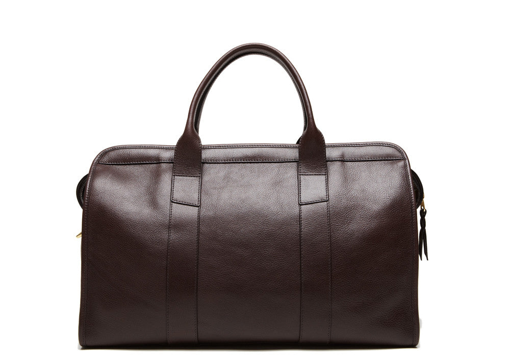 Back View of Small Leather Duffle Chocolate