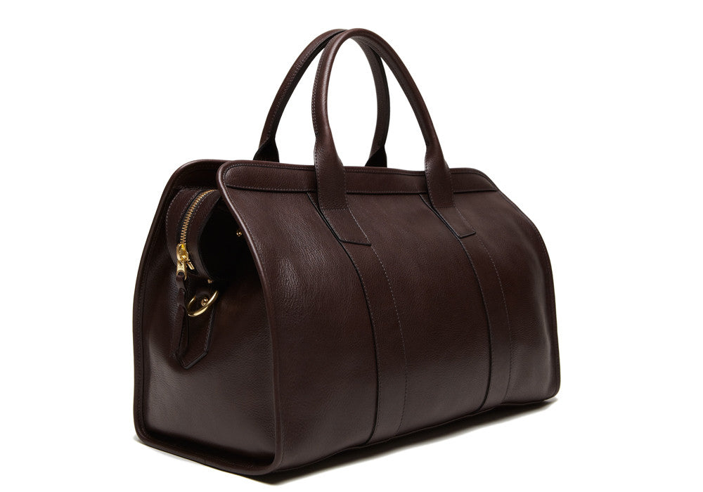 Front Side View of Small Leather Duffle Chocolate