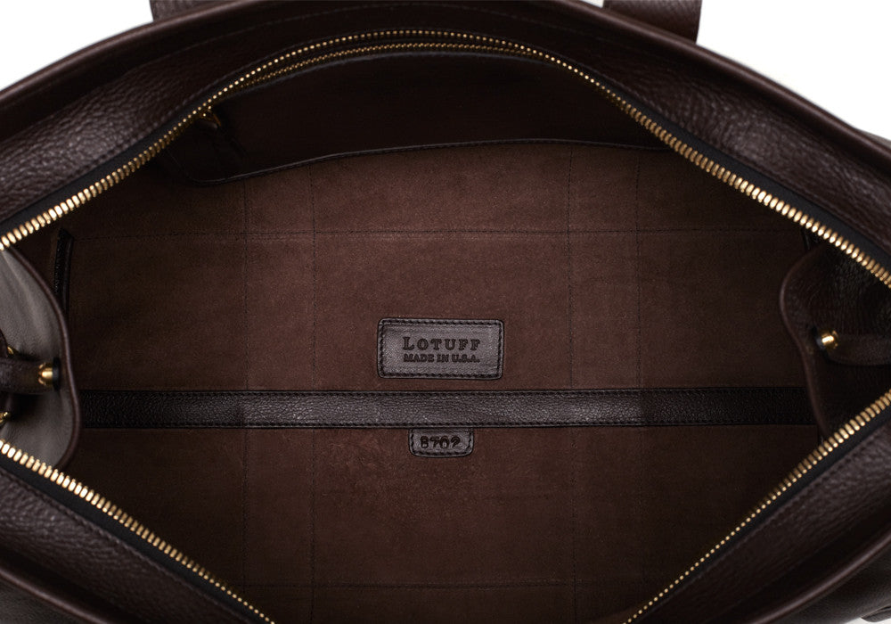 Inner Leather View of Small Leather Duffle Chocolate