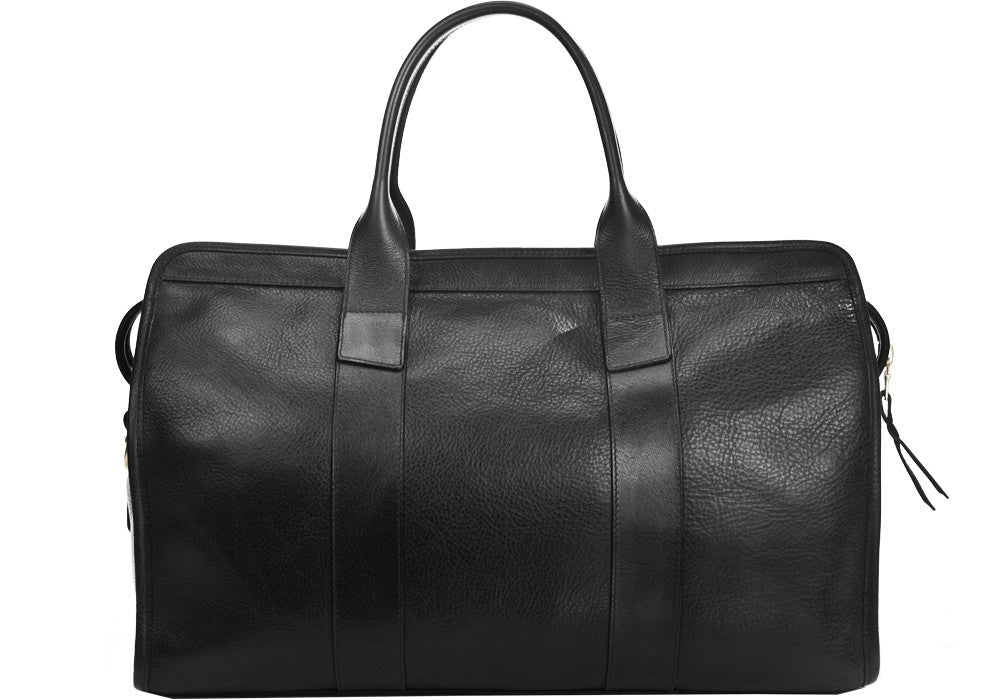 Front Leather View of Small Leather Duffle Black