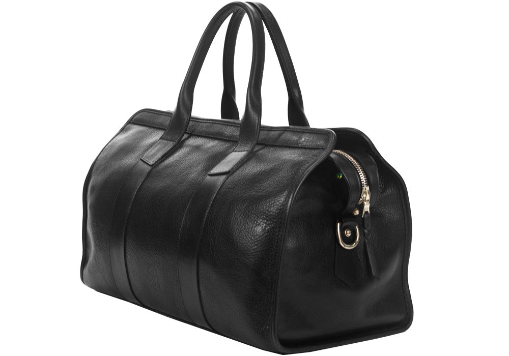 Side Leather View of Small Leather Duffle Black