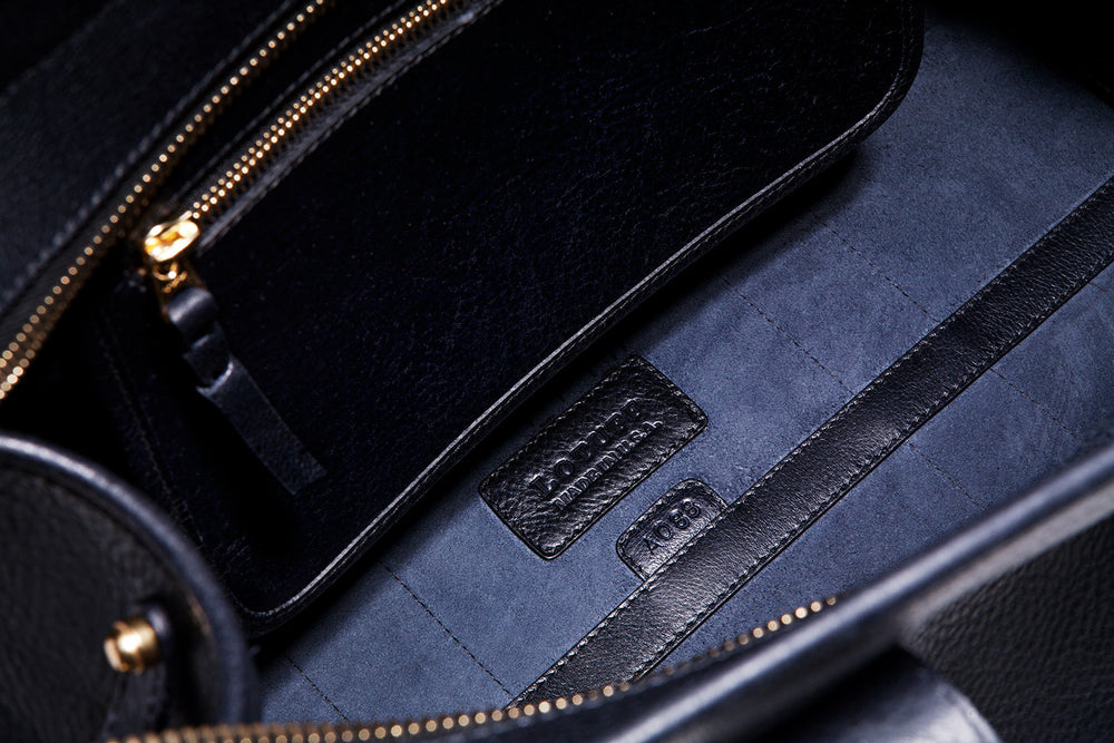 Inner Leather Pocket of Small Leather Duffle Navy