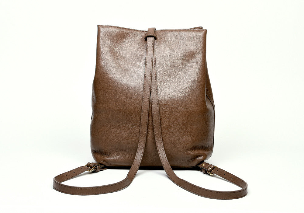 Back Leather Straps of The Sling Backpack Clay