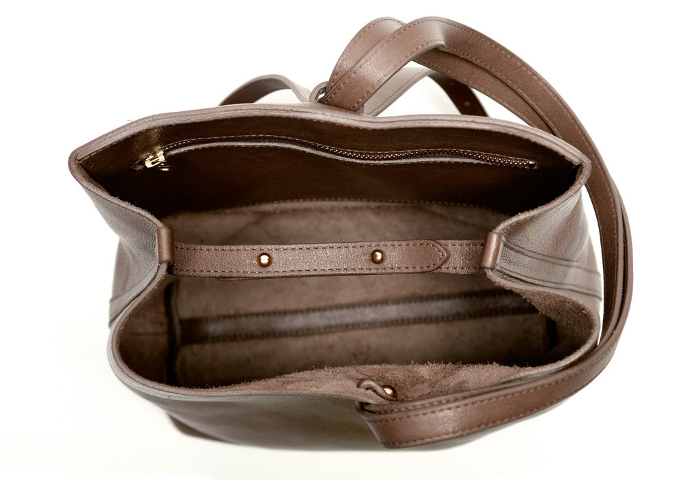 Inner Leather View of The Sling Backpack Clay