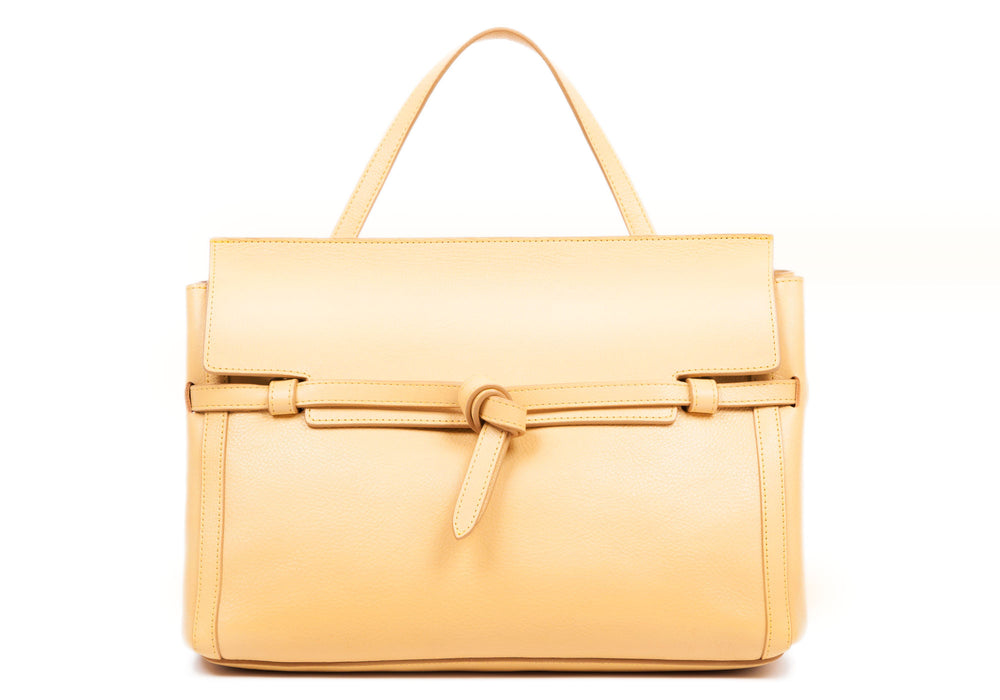 The Knot Handbag Ochre|Front Leather View