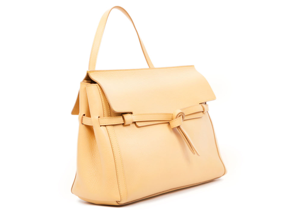 Side Leather View of The Knot Handbag Ochre