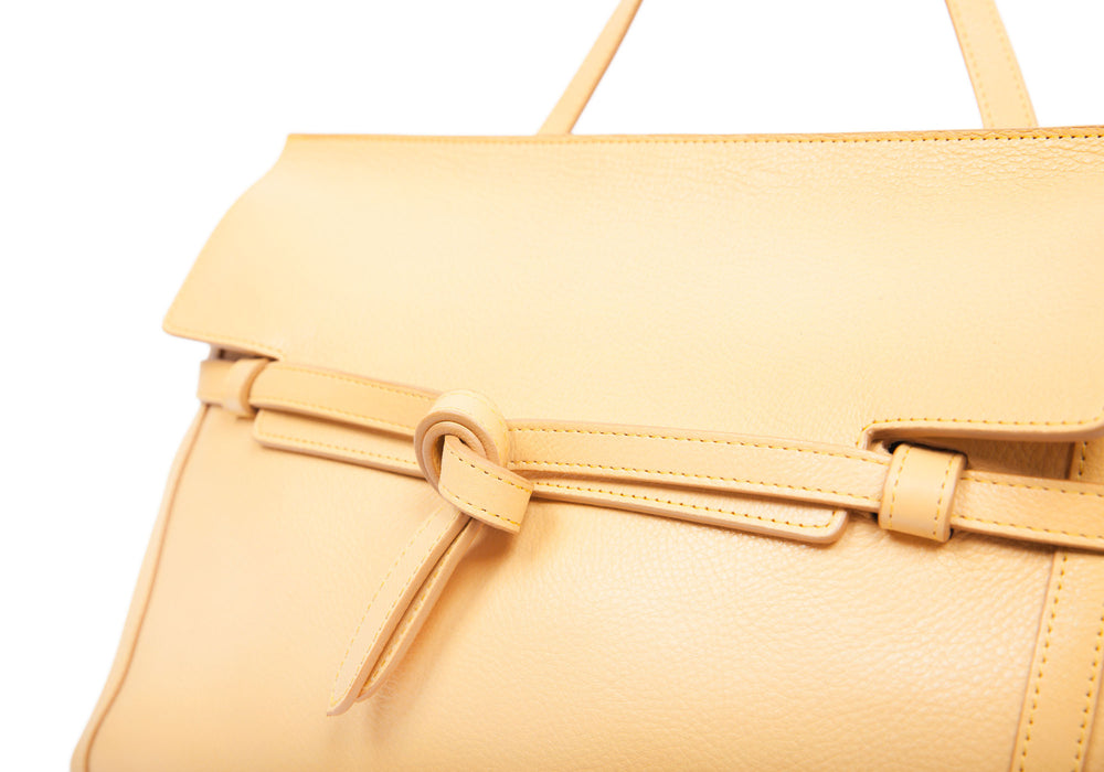 Front Leather Strap of The Knot Handbag Ochre