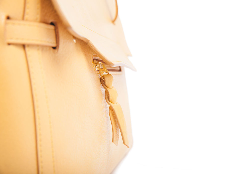 Front Leather Piece of The Knot Handbag Ochre