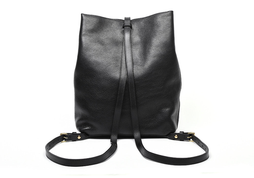 Back Leather Straps of The Sling Backpack Black
