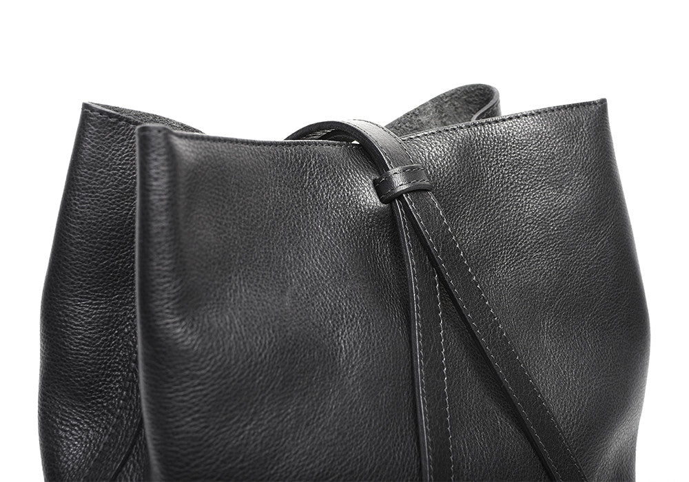 Leather Strap of The Sling Backpack Black