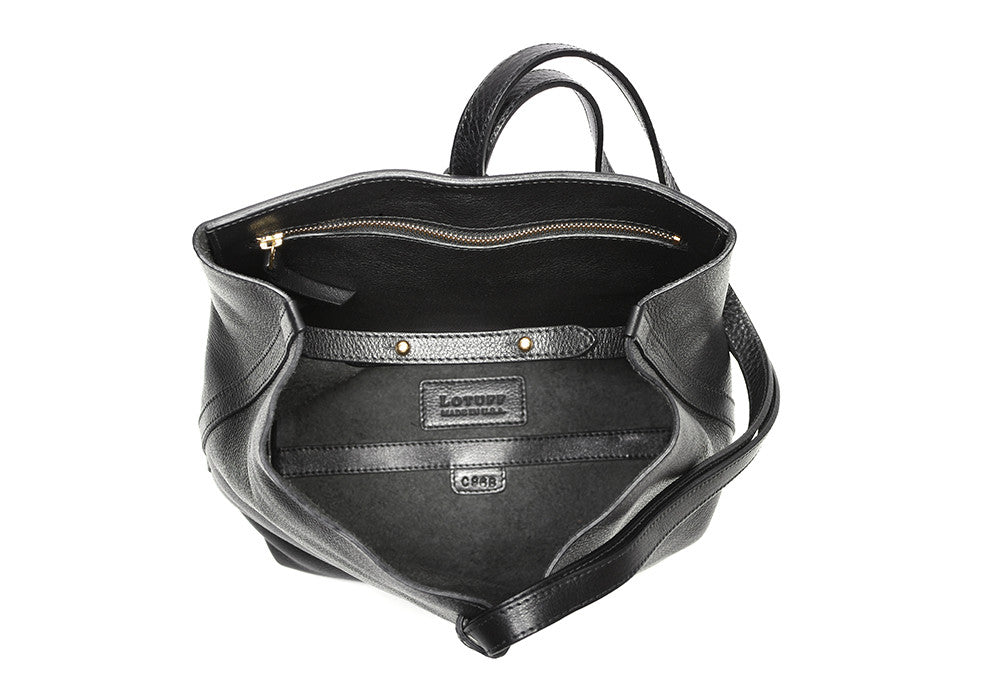 Inner Leather View of The Sling Backpack Black