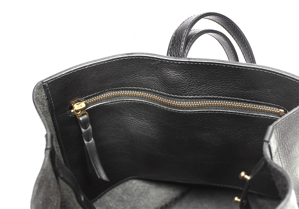 Inner Leather Pocket of The Sling Backpack Black