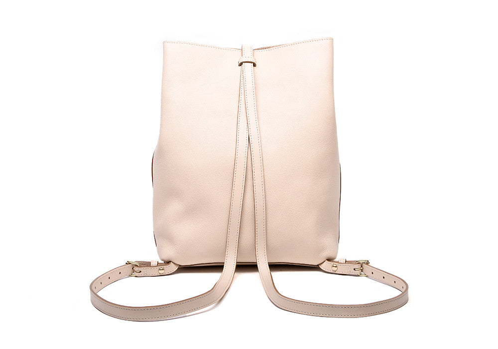 Back Leather Straps of The Sling Backpack Natural