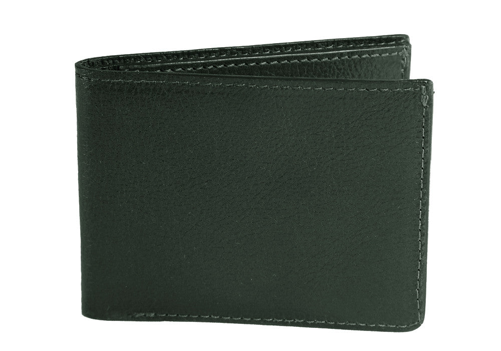 Two-Pocket Leather Bifold Wallet Green