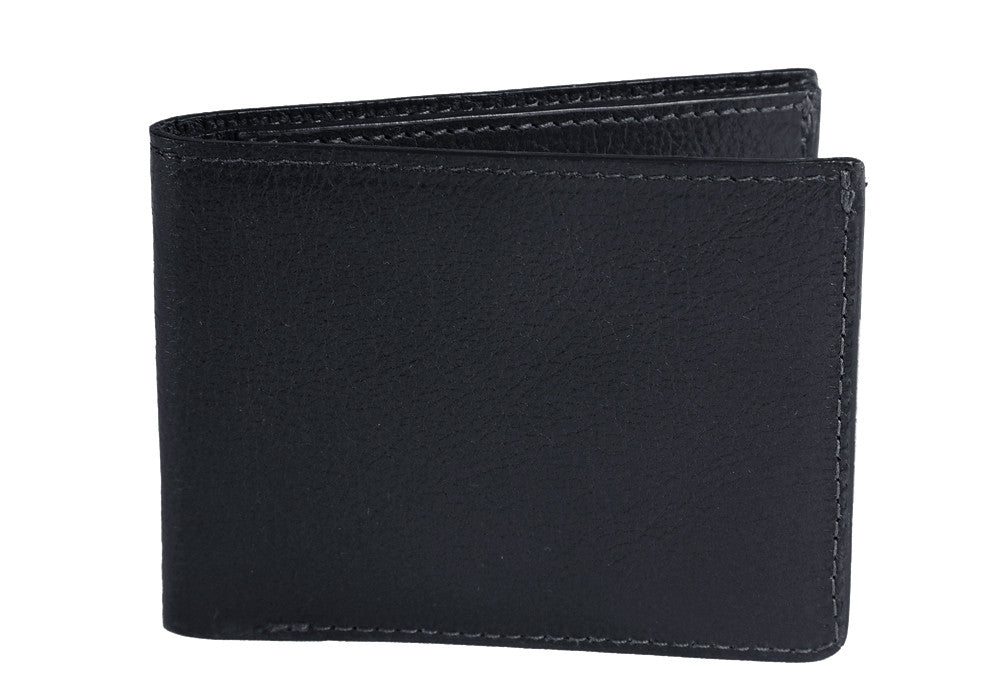 Two-Pocket Leather Bifold Wallet Navy