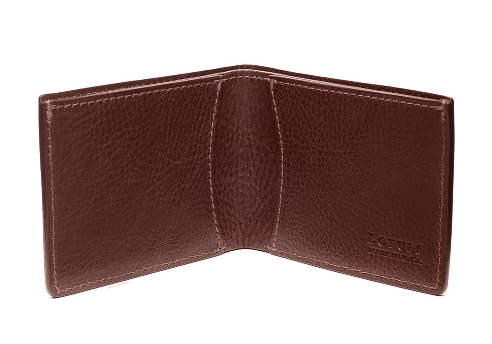 Two-Pocket Leather Bifold Wallet Chestnut