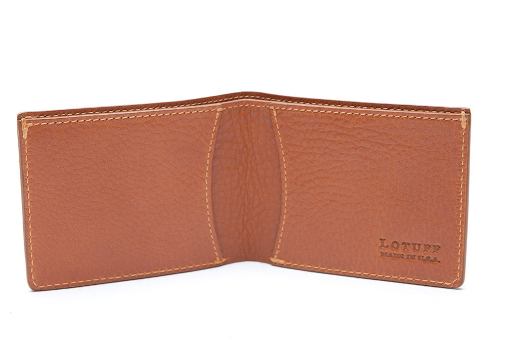 Two-Pocket Leather Bifold Wallet Tan