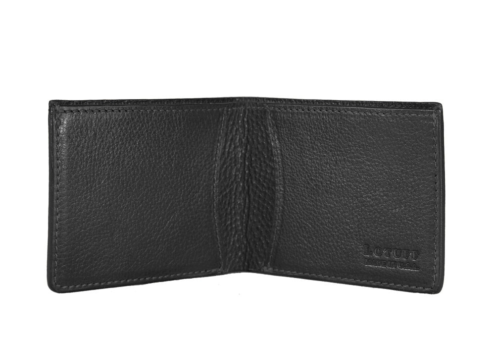 Two-Pocket Leather Bifold Wallet Black