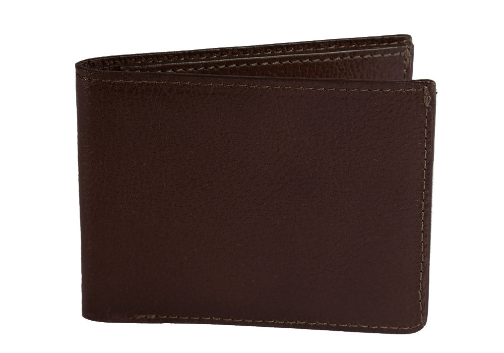 Two-Pocket Leather Bifold Wallet Chocolate