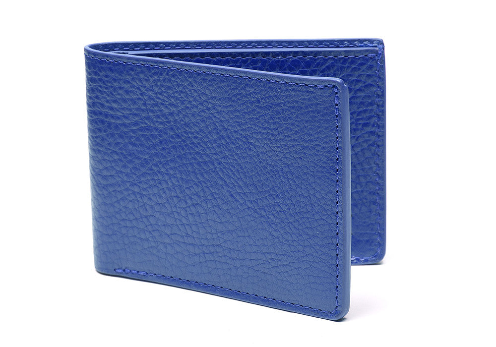 Two-Pocket Leather Bifold Wallet Electric Blue