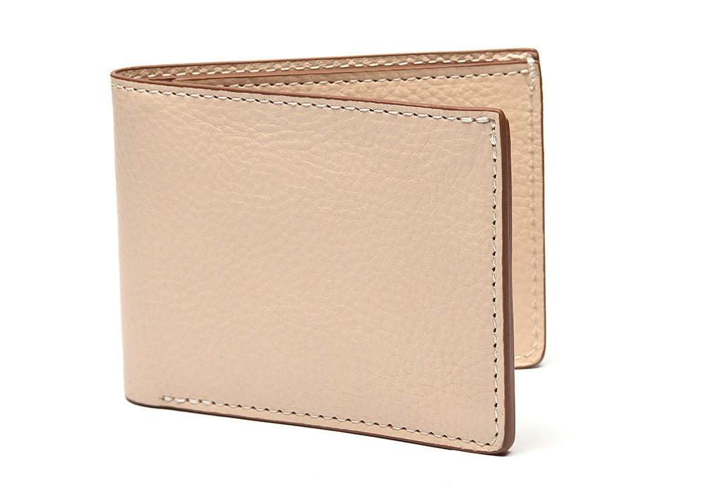 Two-Pocket Leather Bifold Wallet Natural