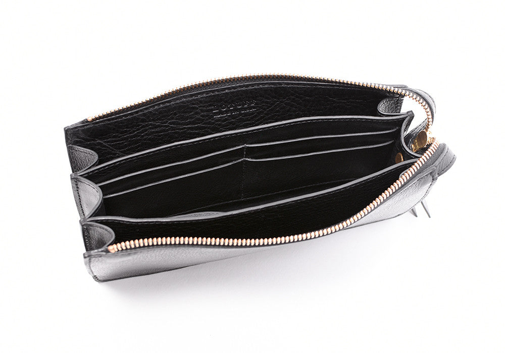 Inner Leather View of Women's Leather Wallet Black