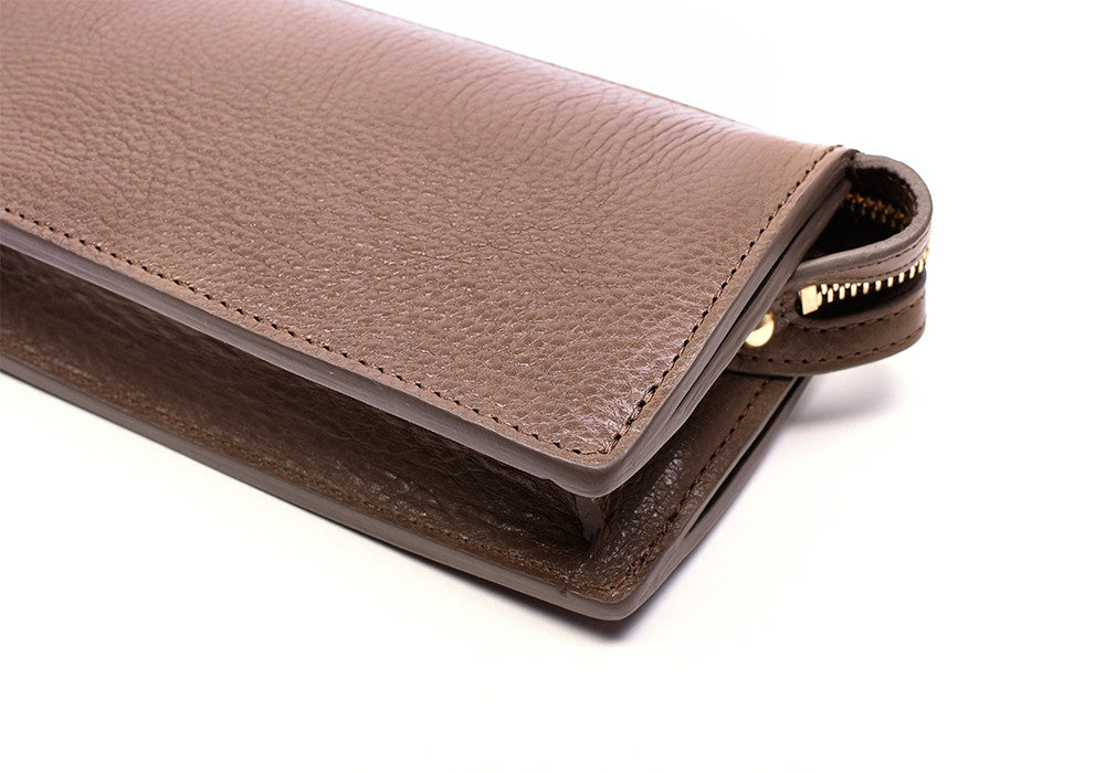 Front Leather View of Women's Leather Wallet Clay