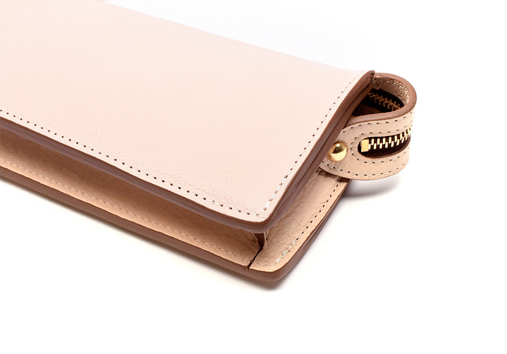 Front Leather View of Women's Leather Wallet Natural