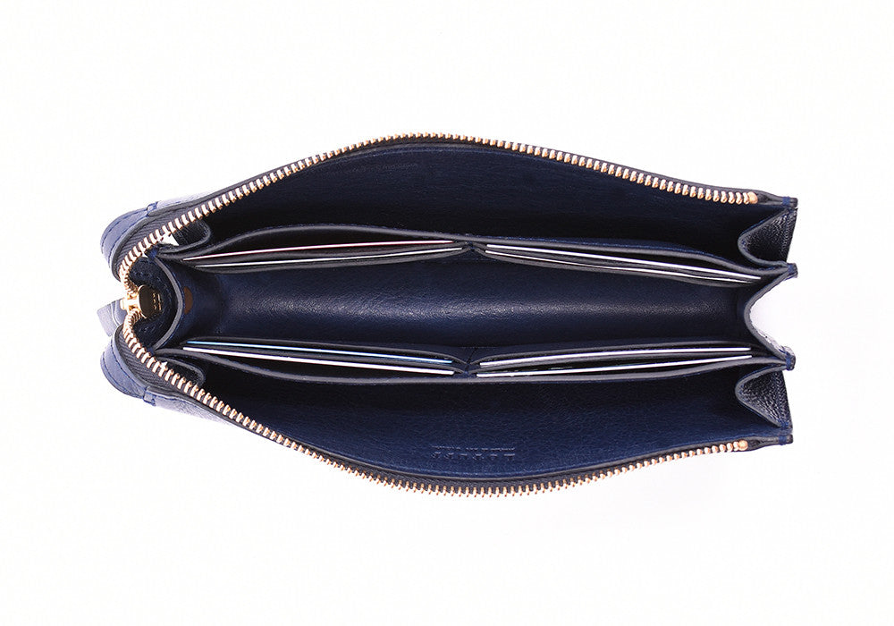 Inner Leather View of Women's Leather Wallet Indigo